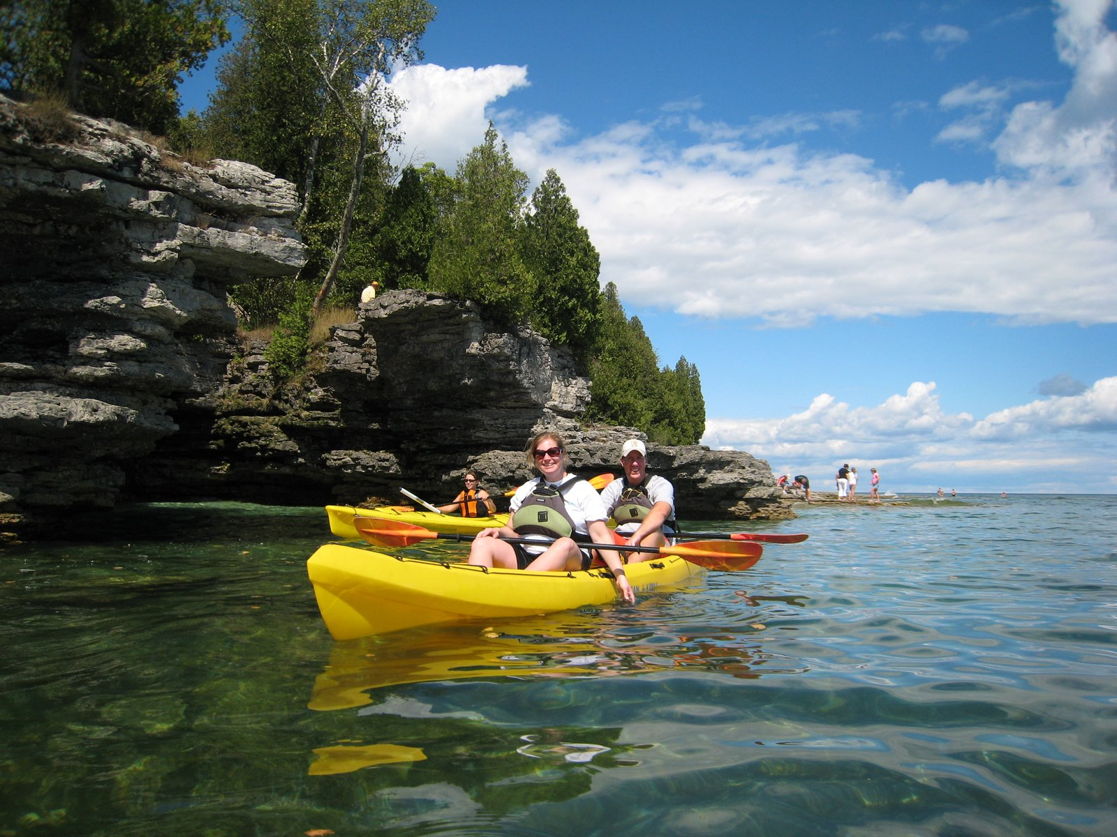 Kayaking with Bluffs in Background