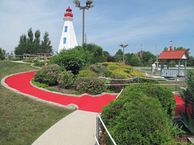Red Greens and Lighthouse at Egg Harbor Fun Park in Egg Harbor Wi